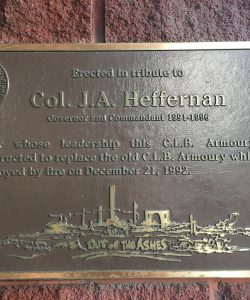 Plaque commemorating Colonel J. A. Heffernan